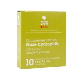 Marque Verte - Compresses stériles Gaze hydrophile - 7.5*7.5cm Boite de 10 sachets de 2