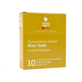 Marque Verte - Compresses stériles Non Tissé - 10*10 cm Boite de 25 sachets de 2