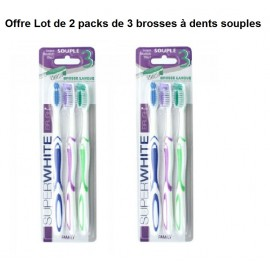 Offre 2 Lots de SuperWhite - Lot de 3 Brosses à Dents - Medium