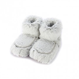 Soframar - Chaussons Boots Bouillottes Graines Micro Onde - Cozy Fourrure Chocolat